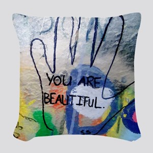 You Are Beautiful Graffiti Woven Throw Pillow