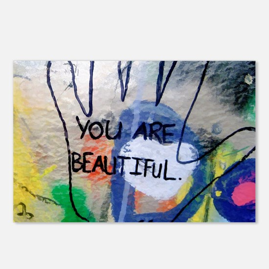 You Are Beautiful Graffit Postcards (Package of 8)