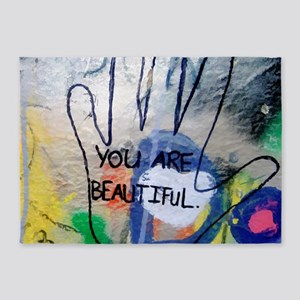 You Are Beautiful Graffiti 5'x7'Area Rug