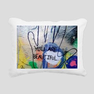 You Are Beautiful Graffi Rectangular Canvas Pillow