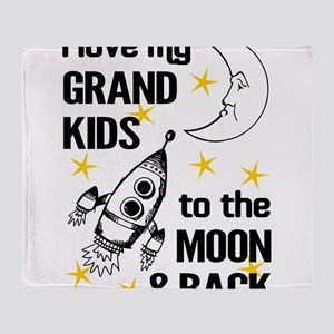 I Love My Grand Kids To The Moon And Throw Blanket