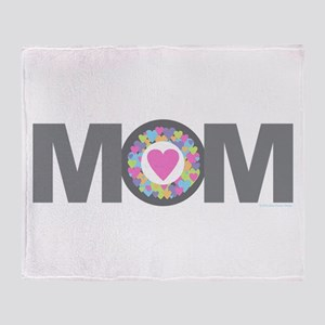 MOM - Charcoal Pink Throw Blanket