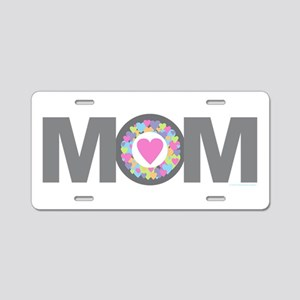 MOM - Charcoal Pink Aluminum License Plate