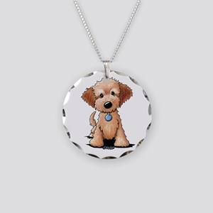 KiniArt Goldendoodle Puppy Necklace Circle Charm
