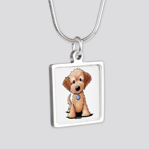KiniArt Goldendoodle Puppy Silver Square Necklace