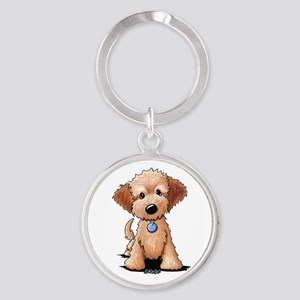 KiniArt Goldendoodle Puppy Round Keychain