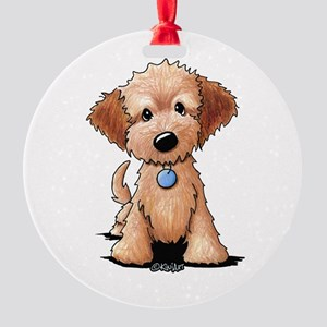 KiniArt Goldendoodle Puppy Round Ornament