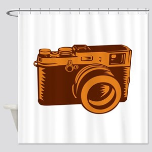 Camera 35mm Vintage Woodcut Shower Curtain