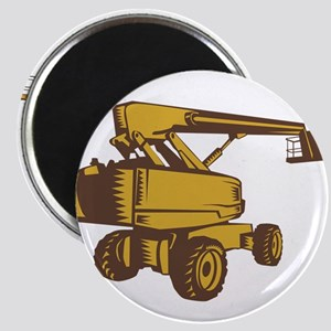 Cherry Picker Mobile Lift Platform Woodcut Magnets