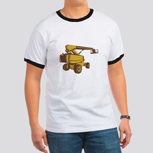 Cherry Picker Mobile Lift Platform Woodcut T-Shirt