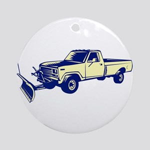 Snow Plow Truck Woodcut Round Ornament