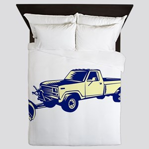 Snow Plow Truck Woodcut Queen Duvet