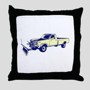 Snow Plow Truck Woodcut Throw Pillow