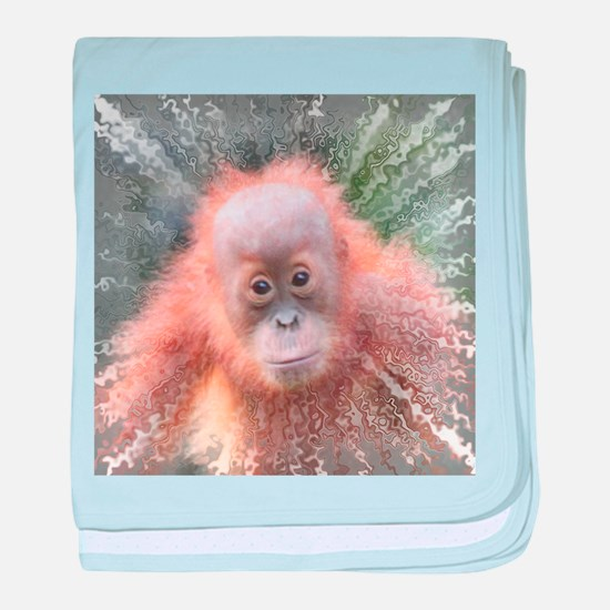 Explosive Animal - Orangutan baby baby blanket