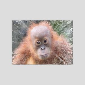 Explosive Animal - Orangutan baby 5'x7'Area Rug