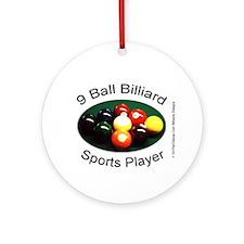 9 Ball Billiard Sports Player Round Ornament