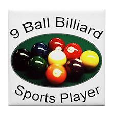 9 Ball Billiard Sports Player Tile Coaster