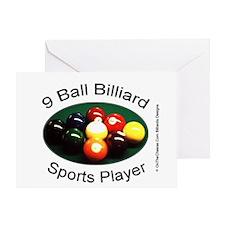 9 Ball Billiard Sports Player Greeting Card