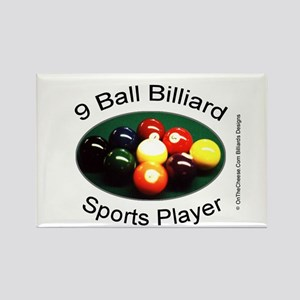 9 Ball Billiard Sports Player Rectangle Magnet