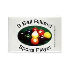 9 Ball Billiard Sports Player Rectangle Magnet