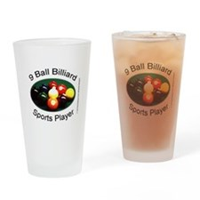 9 Ball Billiard Sports Player Drinking Glass