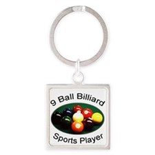 9 Ball Billiard Sports Player Square Keychain