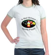 9 Ball Billiard Sports Player Jr. Ringer T-Shirt