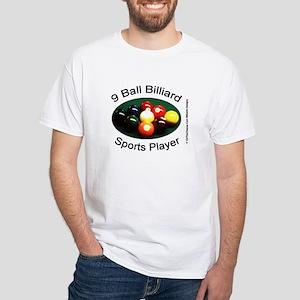 9 Ball Billiard Sports Player White T-Shirt
