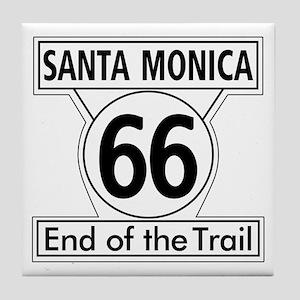 Santa Monica End of Trail, California Tile Coaster