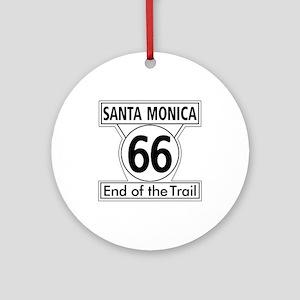 Santa Monica End of Trail, Californ Round Ornament