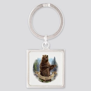 Grizzly Bear Square Keychain