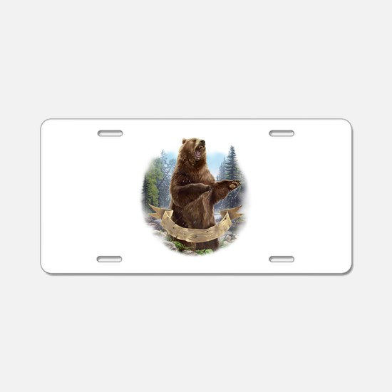 Grizzly Bear Aluminum License Plate