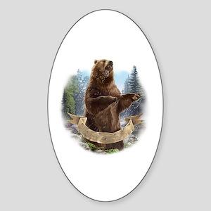 Grizzly Bear Sticker (Oval)