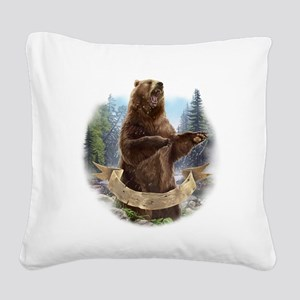 Grizzly Bear Square Canvas Pillow