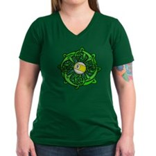 Irish Invader 9 Ball Women's V-Neck Dark T-Shirt