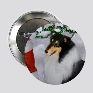 "Tri Collie Christmas 2.25"" Button (10 pack)"