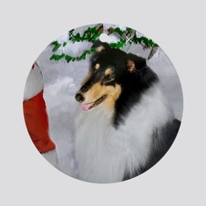 Tri Collie Christmas Ornament (Round)
