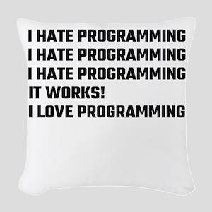 I Love Programming Woven Throw Pillow