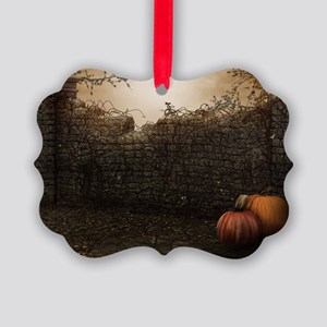 Autumn Stone Fence Picture Ornament