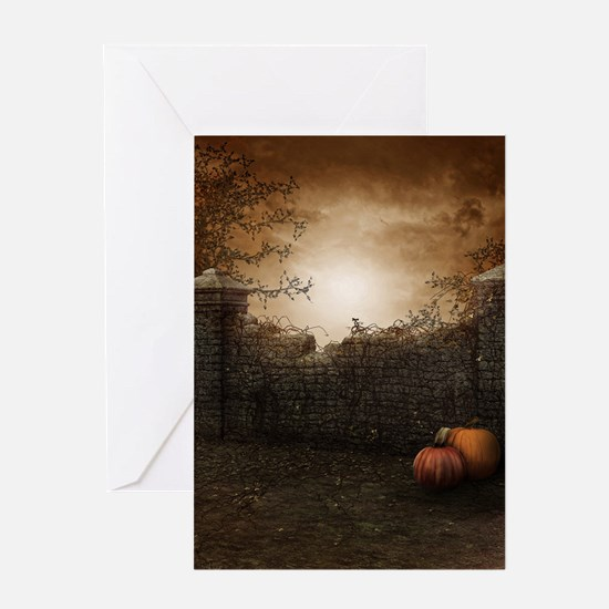 Autumn Stone Fence Greeting Card