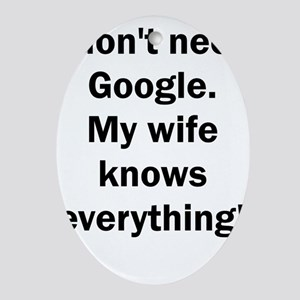 I don't need Google. My wife knows e Oval Ornament