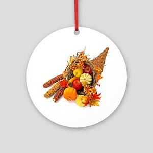Thanksgiving Cornucopia Round Ornament