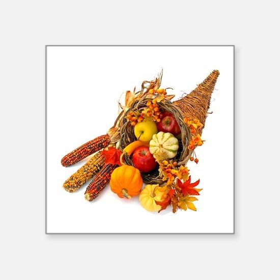 """Thanksgiving Cornucopia Square Sticker 3"""" x 3"""""""