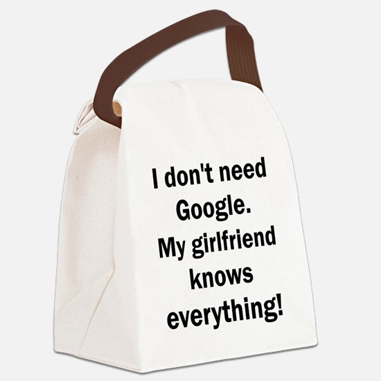 I don't need Google My girlfriend Canvas Lunch Bag