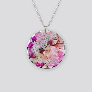 Orchids and Butterflies Necklace Circle Charm