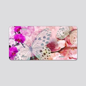 Orchids and Butterflies Aluminum License Plate