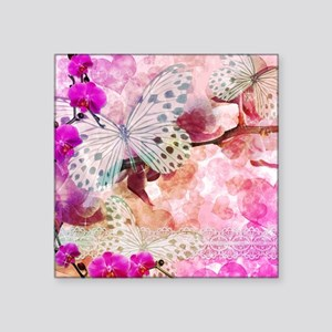 "Orchids and Butterflies Square Sticker 3"" x 3"""