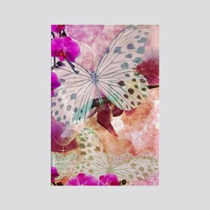 Orchids and Butterflies Rectangle Magnet