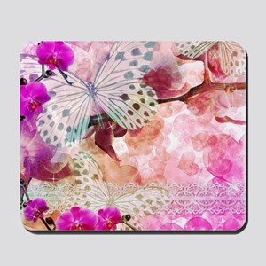 Orchids and Butterflies Mousepad