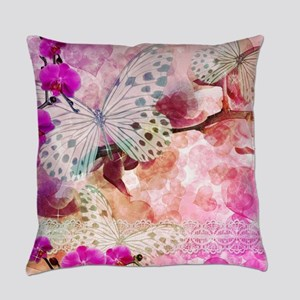 Orchids and Butterflies Everyday Pillow